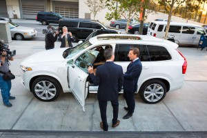 K1600 169519 Semi autonomous Volvo XC90 drives Los Angeles Mayor Eric Garcetti to